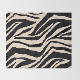 Zebra Animal Print Black and off White Pattern Throw Blanket