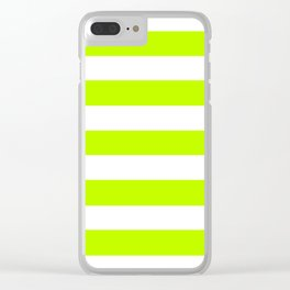 Bitter lime - solid color - white stripes pattern Clear iPhone Case
