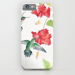 Hummingbirds and Hibiscus  iPhone Case