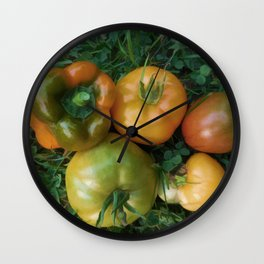 Fresh tomatoes and bell pepper Wall Clock
