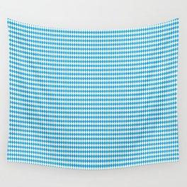 Oktoberfest Bavarian Blue and White Small Diagonal Diamond Pattern Wall Tapestry