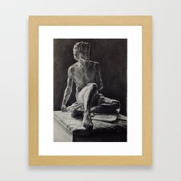 Graphite rendition of Archimedes' Scultpure Framed Art Print