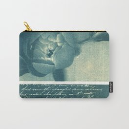 Peony and Poem, collage, blue print, wall art, wall decor, home decor, cyanotype Carry-All Pouch