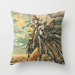 native american portrait Throw Pillow