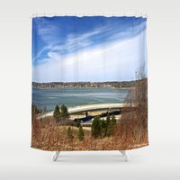 maine Shower Curtains featuring Maine Travel by Catherine1970