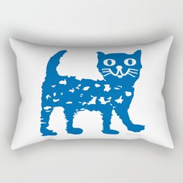 Navy blue cat pattern Rectangular Pillow