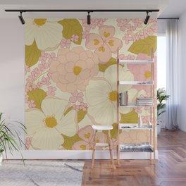 Pink Pastel Vintage Floral Pattern Wall Mural