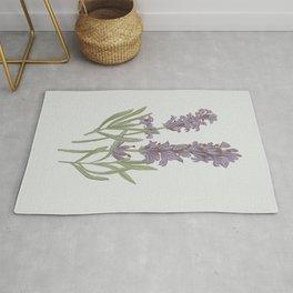 Lavender Flower Illustration Rug