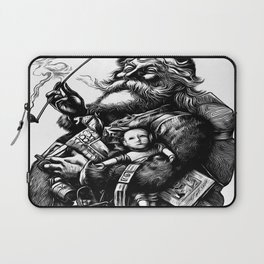 Vintage Style Black and White Illustration Of Santa Claus Laptop Sleeve