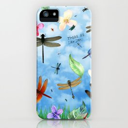There Be Dragons Whimsical Dragonfly Art iPhone Case