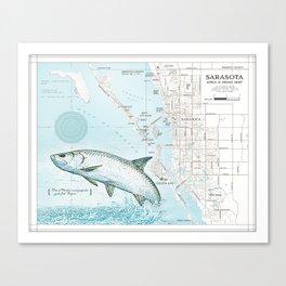 Sarasota, FL Tarpon [Area & Road Map] Canvas Print