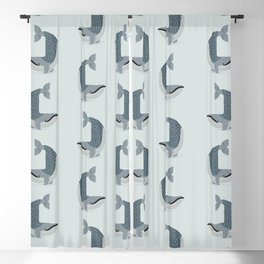Whimsical Blue Whale Blackout Curtain