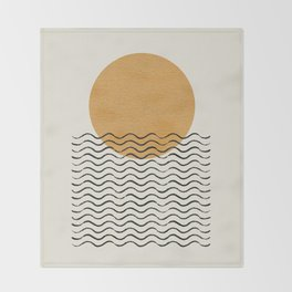 Ocean wave gold sunrise - mid century style Throw Blanket
