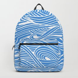 Water Drop – White Ink on Blue Backpack