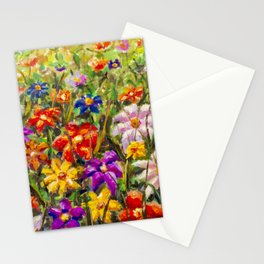 BUY PAINTING SUMMER FLORAL MULTICOLORED FLOWER FIELD - ORIGINAL OIL PAINTING Stationery Cards
