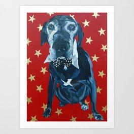 Starry Leonard the Black Lab Dog Portrait Art Print
