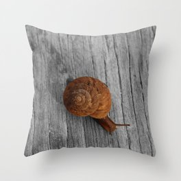 Lonely Snail Throw Pillow