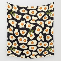 eggs Wall Tapestries featuring fried eggs by Elsbet