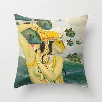 mermaid Throw Pillows featuring MERMAID by Julia Lillard Art