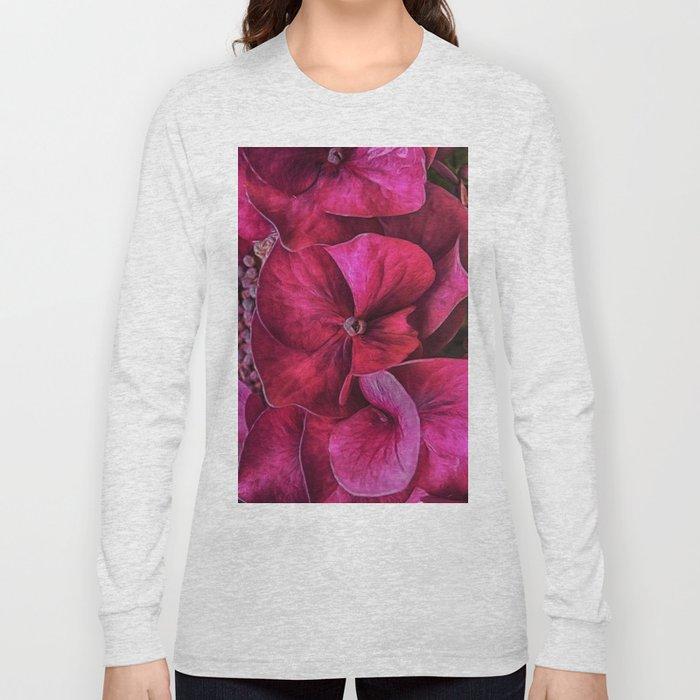 Hydrangea Red blooms Long Sleeve T-shirt