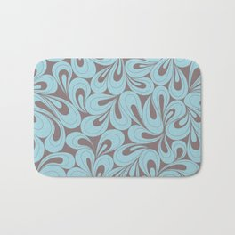 Teal and coffee hand drawn elegant surface pattern Bath Mat