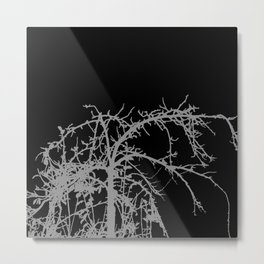Creepy tree silhouette, grey on black Metal Print