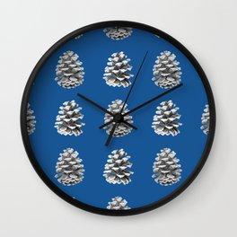 Monochrome Pine Cones Winter Blue Wall Clock