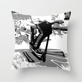 Down the Ramp - Stunt Scooter Rider  Throw Pillow