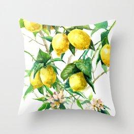 Lemon Tree. lemons kitchen art Throw Pillow
