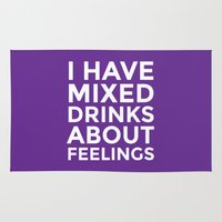 whisky Area & Throw Rugs featuring I HAVE MIXED DRINKS ABOUT FEELINGS (Purple) by CreativeAngel
