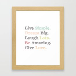 Inspiration Typography Quote Words Pastel  Framed Art Print