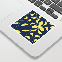 Leafy Vines Yellow and Navy Blue Sticker