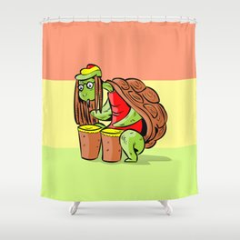 rasta marihuana turtle Shower Curtain