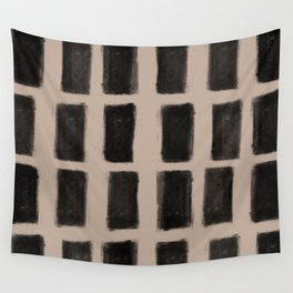 Brush Strokes Vertical Lines Black on Nude Wall Tapestry