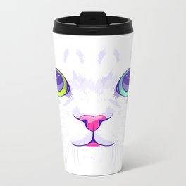 White cute cat Metal Travel Mug