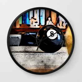 Shooting For The Eight Ball Wall Clock