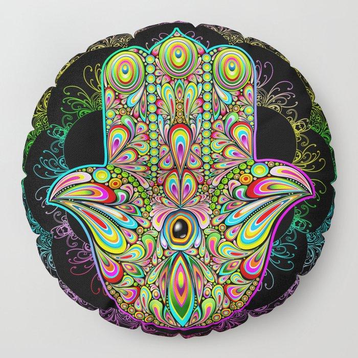 Hamsa Hand Amulet Psychedelic Floor Pillow