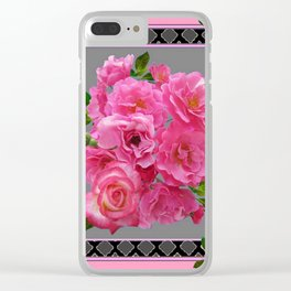 VICTORIAN STYLE CLUSTERED PINK ROSES ART Clear iPhone Case