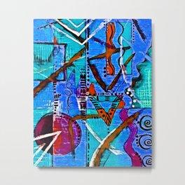 Blue African Art Metal Print