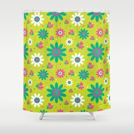 Retro Fall 60's Sunflower Floral in Lime Green Shower Curtain