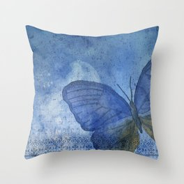 Inky Butterfly Deep Blue Shabby Throw Pillow