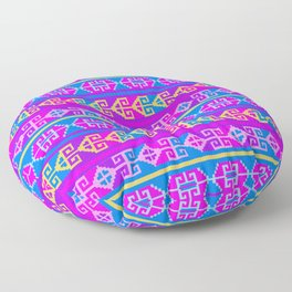 Colorful Mexican Aztec geometric pattern Floor Pillow