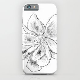 Sketchy Malva Flower Drawing iPhone Case