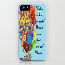 German Folklore Roosters and Husbands auf Deutsch iPhone Case