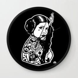 Carrie Fisher Tattooed star princess... Wall Clock