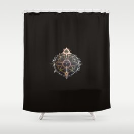 Saraswati Mandala Black Shower Curtain