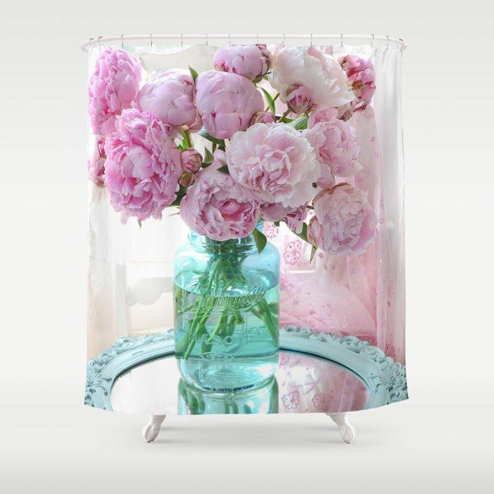 Peonies In Aqua Vase Vintage Romantic Peony Bedroom Decor Shower ...