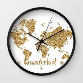 world map gold wanderlust Wall Clock