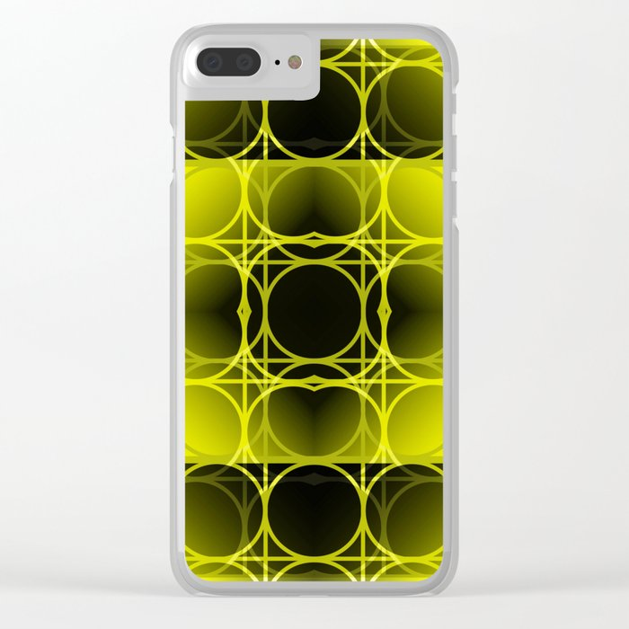 Circles, Grids and Shadows in Black and Yellow Clear iPhone Case
