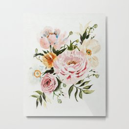 Loose Peonies & Poppies Floral Bouquet Metal Print